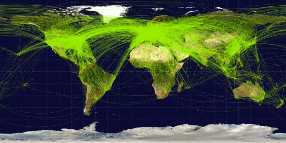 flight dispatcher job - map of the flights